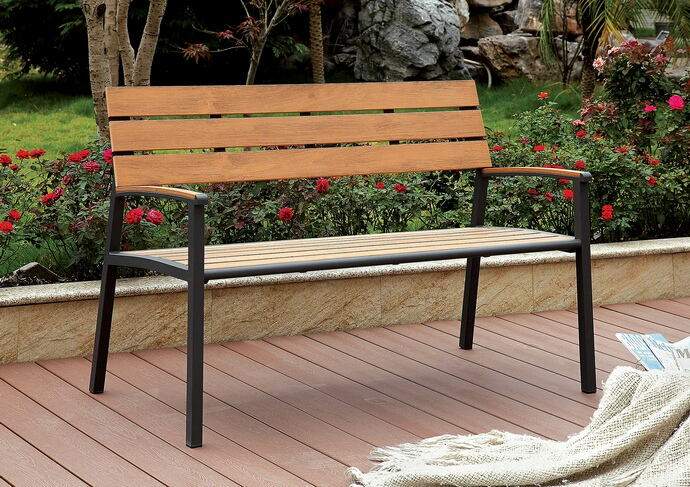 CM-BN1869 Isha dark metal frame and oak finish wood slat park bench