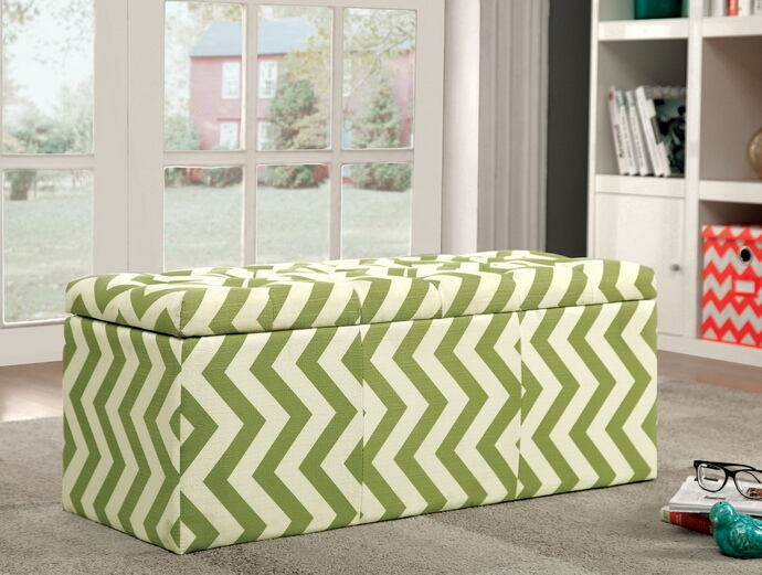 Zahra i collection green zig zag chevron fabric upholstered storage ottoman with tufted top