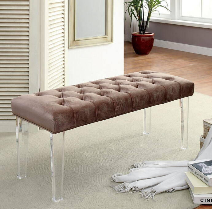 Mahony collection brown padded flannelette padded seat and clear acrylic legs bedroom bench