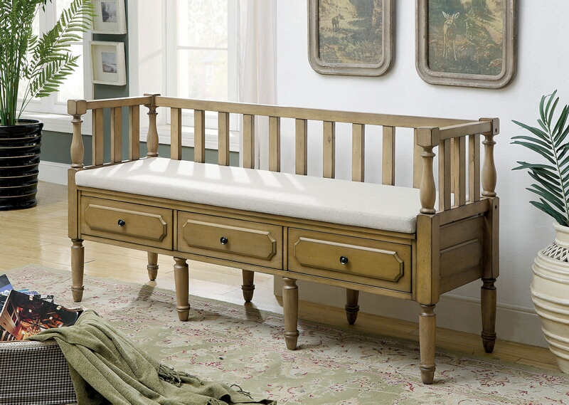 Furniture of america CM-BN6359NT Ballinasloe natural tone finish wood storage entry bedroom bench