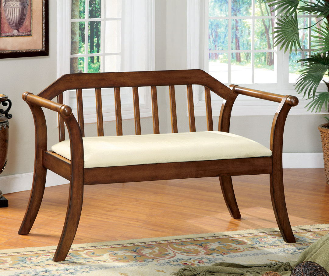 Derby i dark oak solid wood finish bench with fabric padded seat