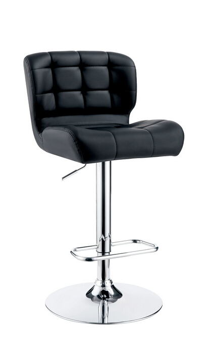 Kori collection contemporary style black tufted back padded leatherette and chrome adjustable bar stool