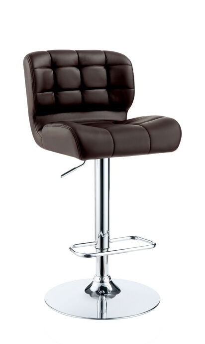 Kori collection contemporary style brown tufted back padded leatherette and chrome adjustable bar stool