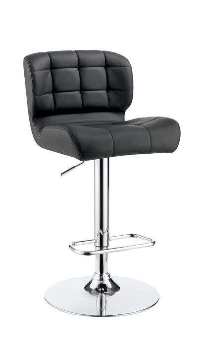Kori collection contemporary style gray tufted back padded leatherette and chrome adjustable bar stool