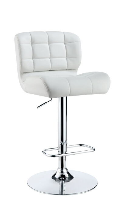 CM-BR6152WH Kori contemporary style white tufted back padded leatherette and chrome adjustable bar stool