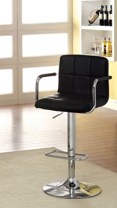 Corfu collection contemporary style black leather like vinyl adjustable swivel bar stool with tufted backrest