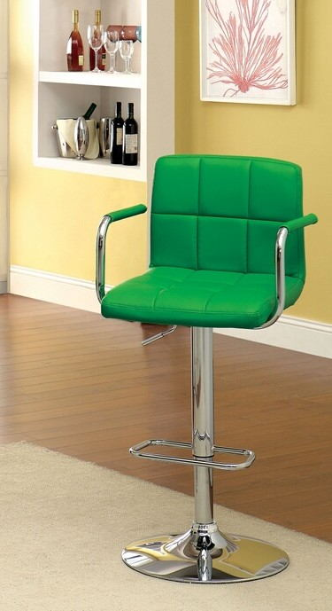 CM-BR6917-GR Corfu contemporary style green leather like vinyl adjustable swivel bar stool with tufted backrest