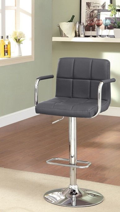 CM-BR6917-GY Corfu contemporary style gray leather like vinyl adjustable swivel bar stool with tufted backrest