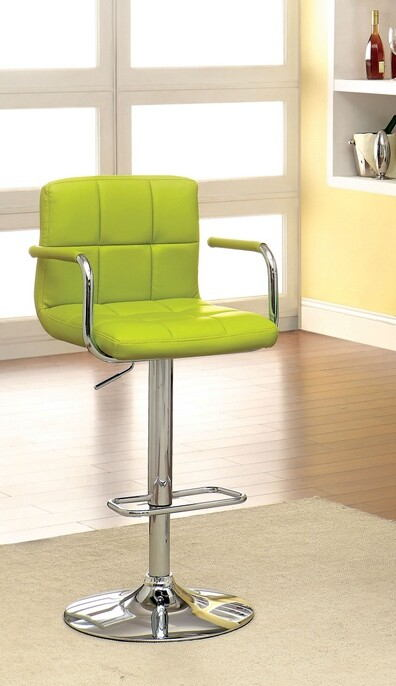 CM-BR6917-LM Corfu contemporary style lime leather like vinyl adjustable swivel bar stool with tufted backrest