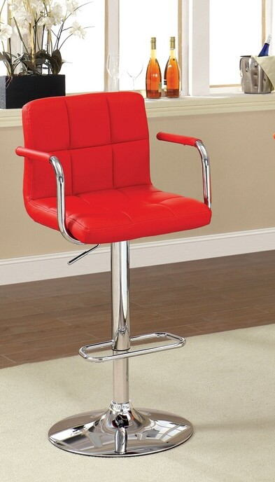 CM-BR6917-RD Corfu contemporary style red leather like vinyl adjustable swivel bar stool with tufted backrest