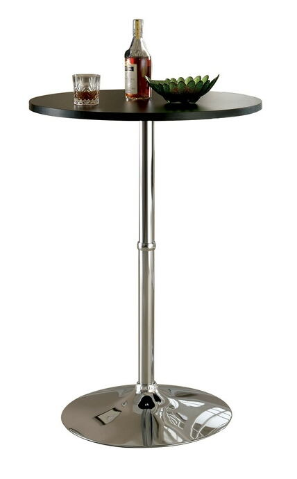 Nessa collection contemporary style round black and chrome bar table