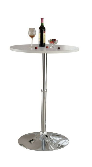 Nessa collection contemporary style round white and chrome bar table