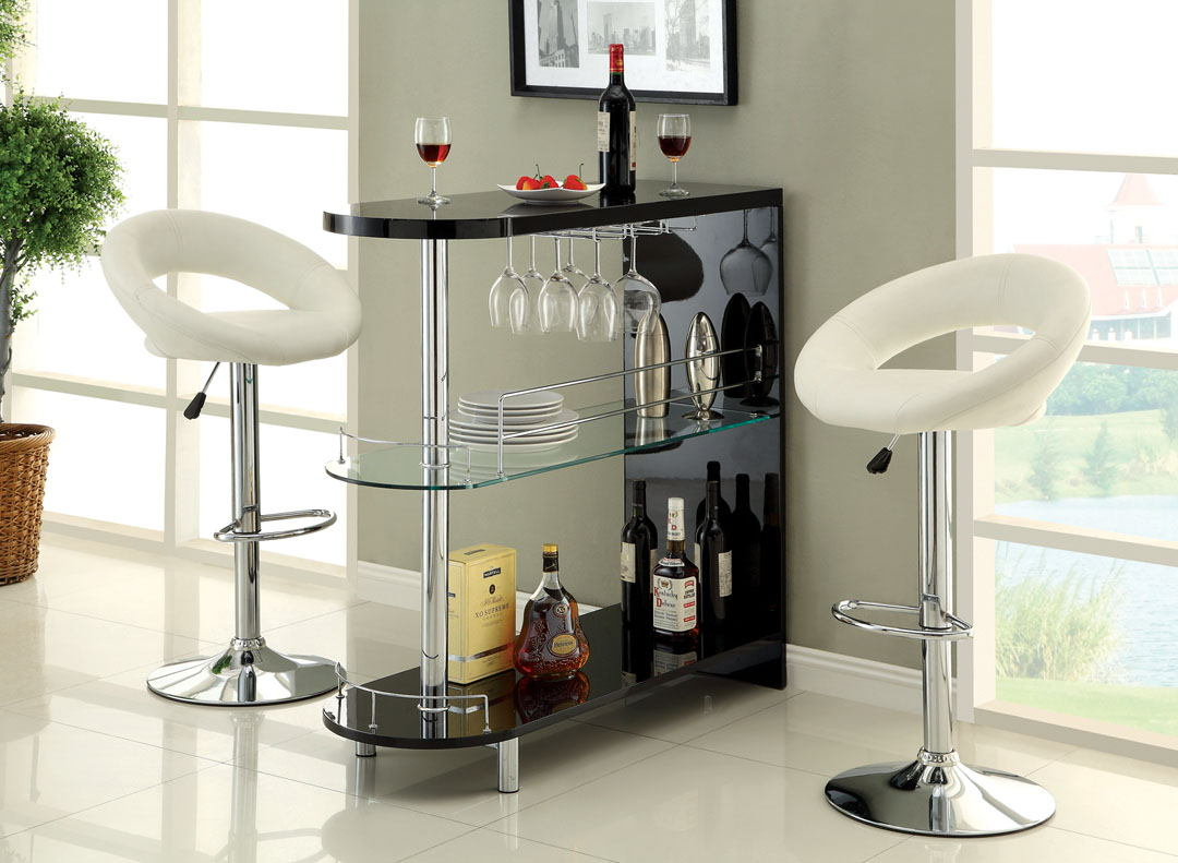 Numbi modern style black lacquered finish and glass mini bar server island table
