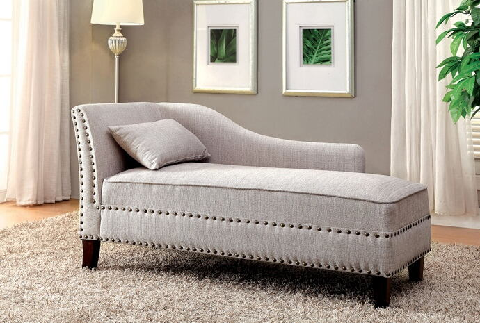 CM-CE2185BG Still water beige linen like fabric chaise lounge with nail head trim accents