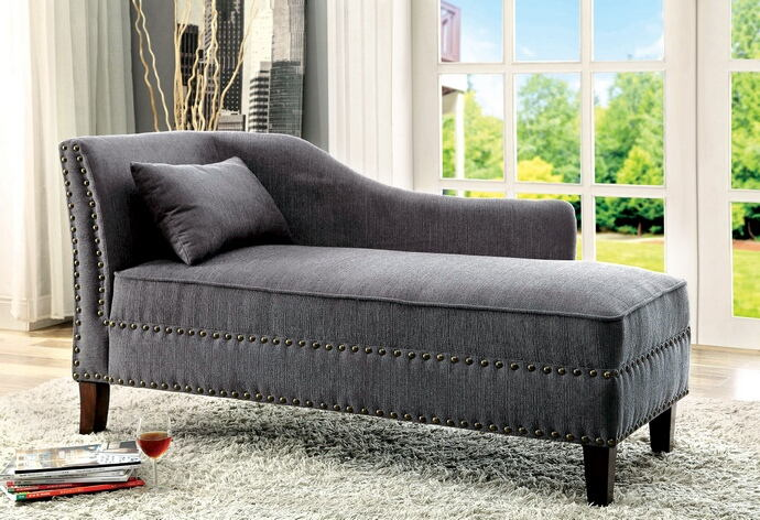 CM-CE2185GY Still water gray linen like fabric chaise lounge with nail head trim accents