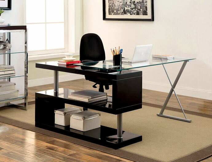 CM-DK6131BK Bronwen black finish wood and glass top l shaped convertible desk