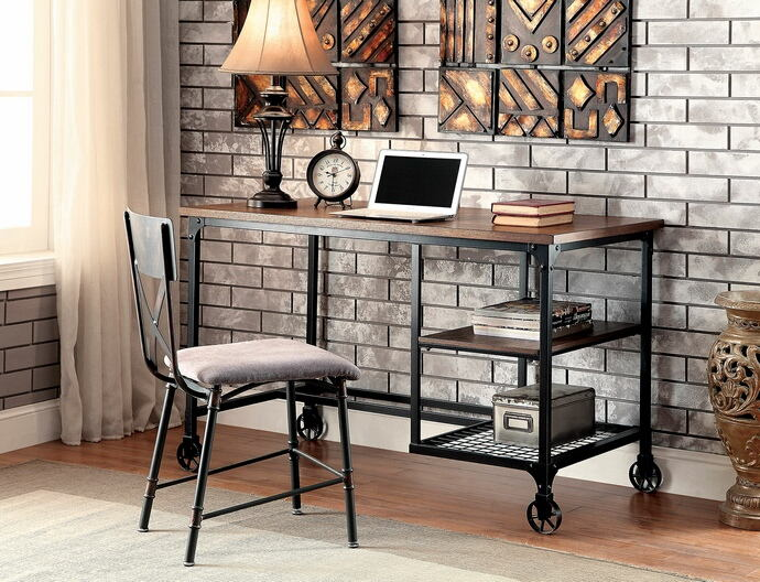 CM-DK6276 Cori industrial stye replicated wood top and antique black metal frame desk