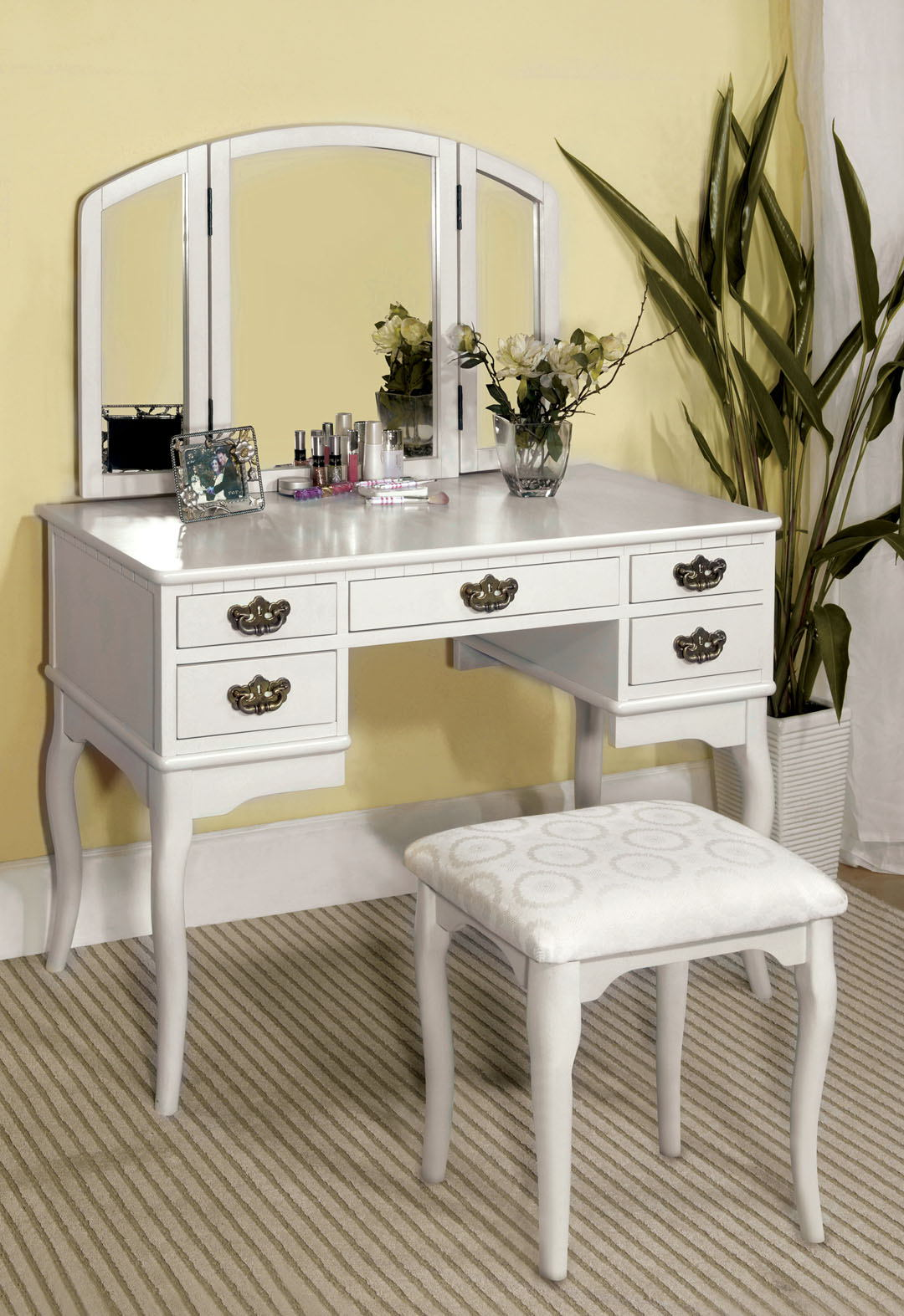 3 pc ashland chippendale style white finish wood bedroom make up vanity sitting table set with tri fold mirror