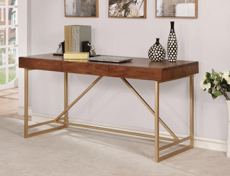 CM-DK6447 Halstein walnut wood gold finish metal frame modern style writing desk