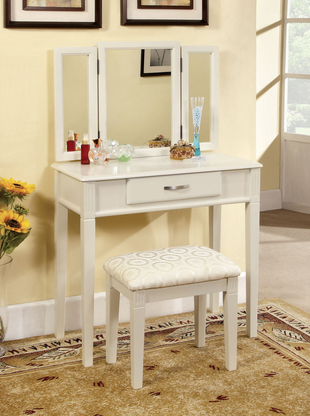 3 pc potterville white finish wood bedroom make up vanity sitting table set with tri fold mirror