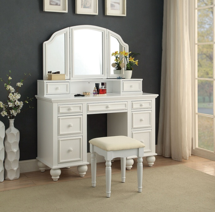 CM-DK6848WH 3 pc Rosdorf park sheffield athy white finish wood make up bedroom vanity set