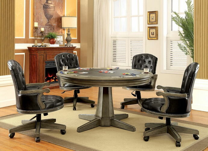Furniture of america CM-GM357T 5 pc yelena collection gray finish wood contemporary style round poker game / dining table set