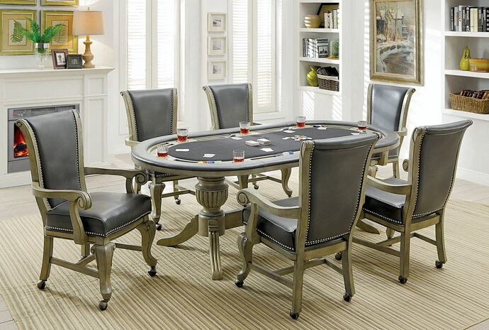 Furniture Of America CM GM367GY 7 Pc Melina Collection Gray Finish Wood Contemporary Style Oval Poker Game Dining Table Set