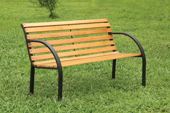 Dumas collection cast iron arms and slatted natural oak finish wood park bench