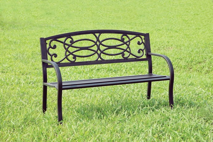 Potter collection black finish steel park bench with scroll  details on the back