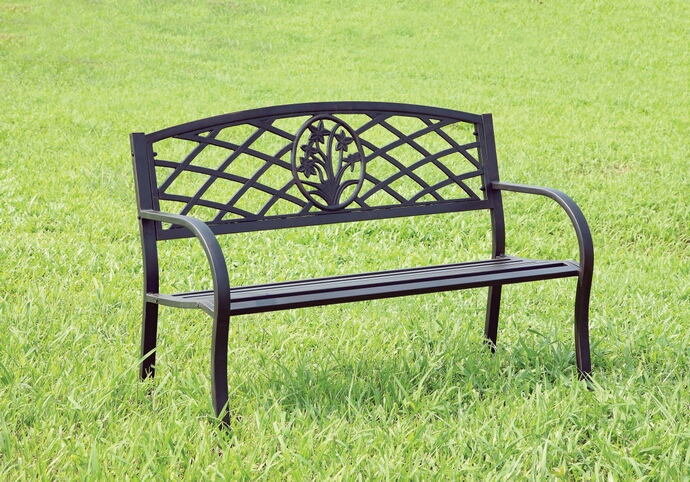 CM-OB1809 Minot black finish steel park bench with scroll  details on the back