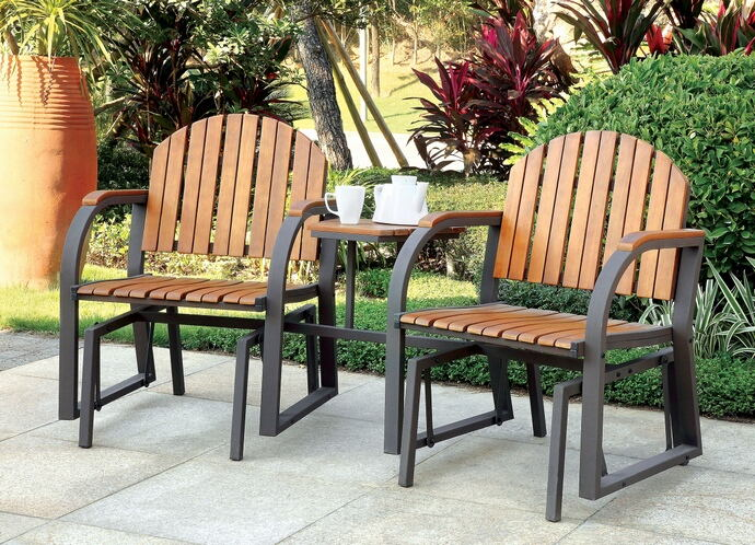 Perse collection contemporary style double glider outdoor rocking chair with center table