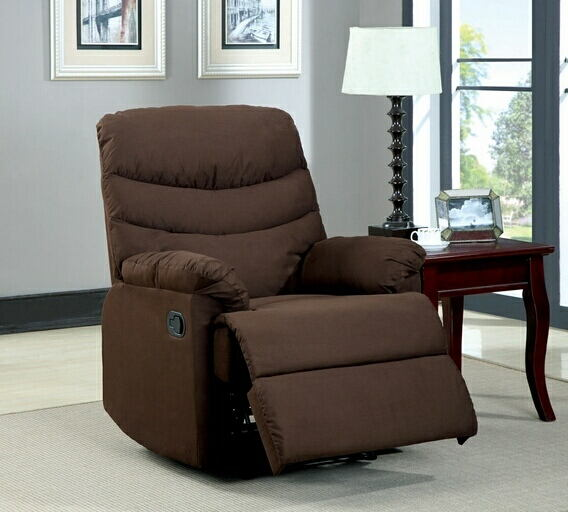 Pleasant valley microfiber dark brown wide seat plush cushions recliner