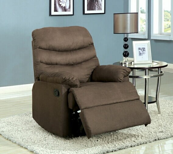 Coffee brown pleasant valley microfiber wide seat plush cushions recliner