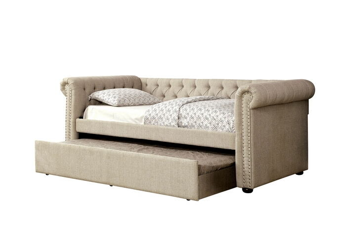 CM1027BG-F 2 pc Leanna beige tufted linen like fabric full size day bed and pull out trundle