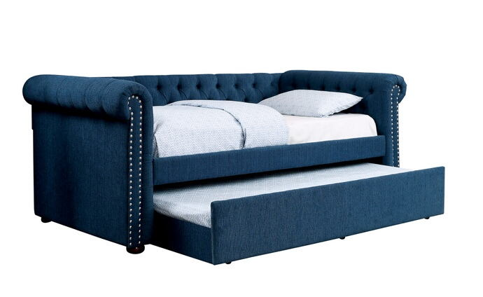 2 pc leanna collection dark teal tufted linen like fabric upholstered day bed and pull out trundle