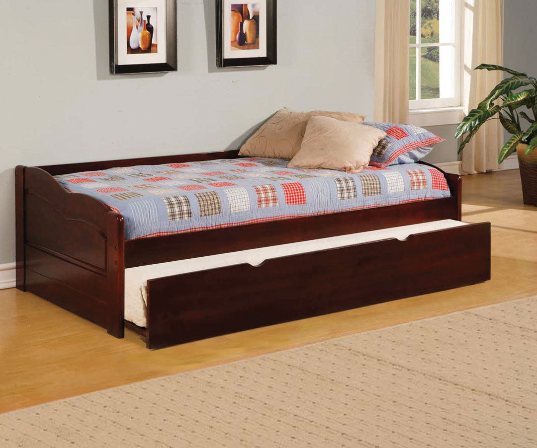 Sunset traditional low profile style platform day bed dark cherry finish.