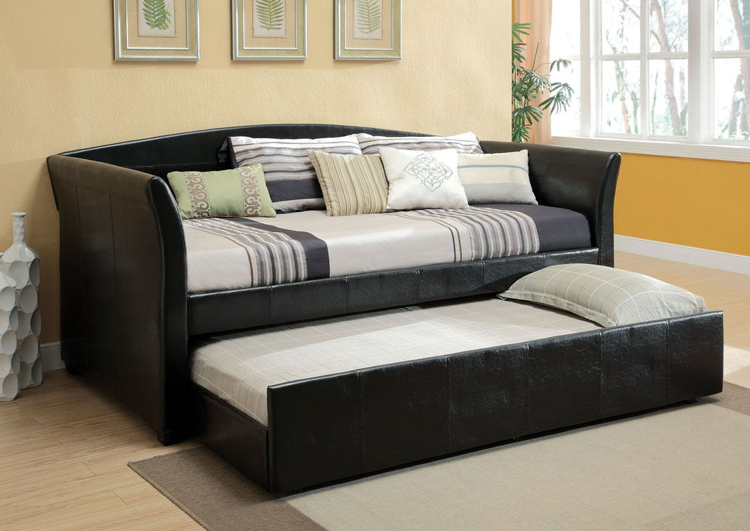 CM1956BK Delmar black leather like vinyl upholstered day bed with slide out trundle