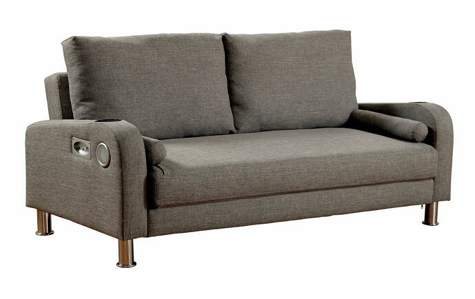 Raquel collection grey linen like fabric upholstered folding futon sofa bed with speakers