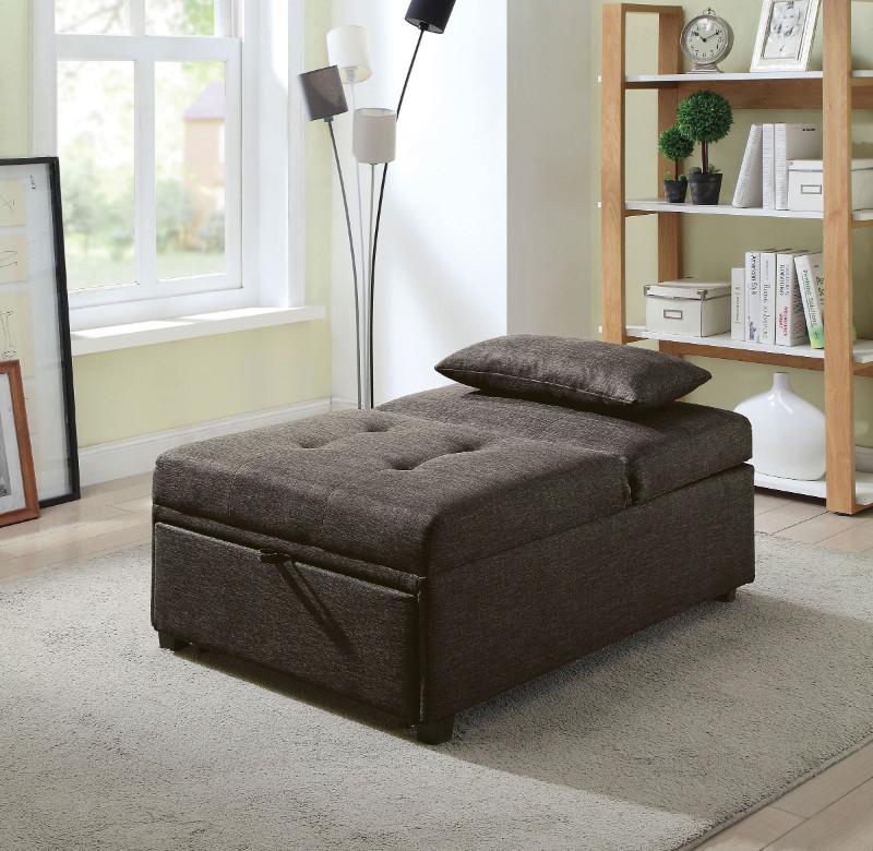 CM2543DG Oona dark gray linen like fabric folding ottoman chaise sofa bed