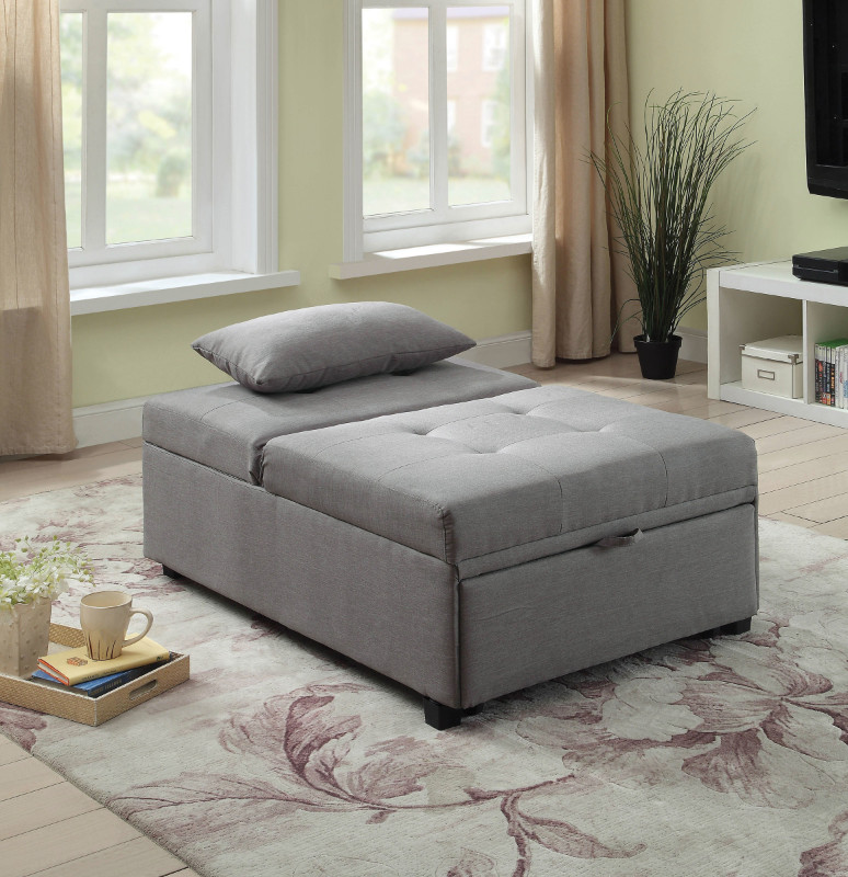 CM2543GY Oona gray linen like fabric folding ottoman chaise sofa bed