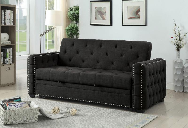 CM2604 Iona gray linen like fabric folding futon sofa bed