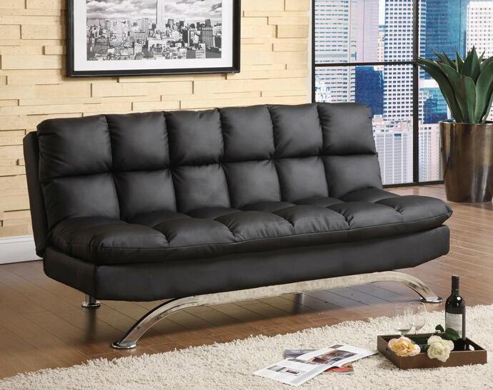 Aristo ii contemporary style design black finish leatherette futon sofa with chrome finish support legs