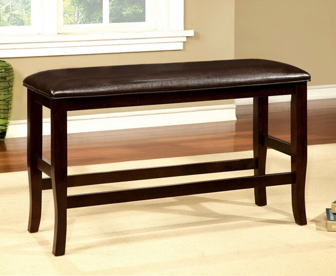 Woodside collection two tone dark cherry finish wood counter height dining bench