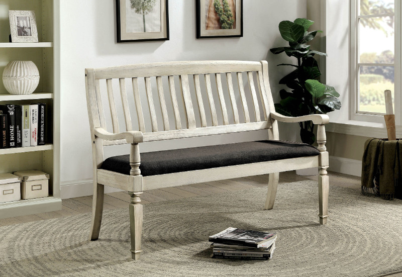 CM3089LV Georgia antique white finish wood entry bedroom bench