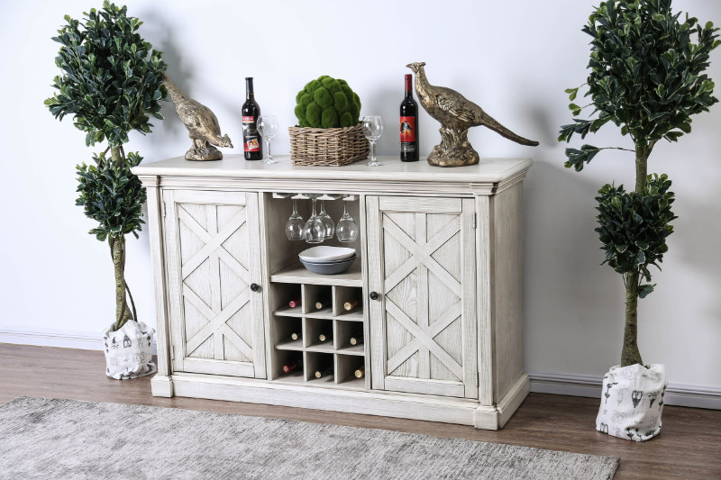 CM3089-SV Georgia antique white finish wood dining sideboard server console table