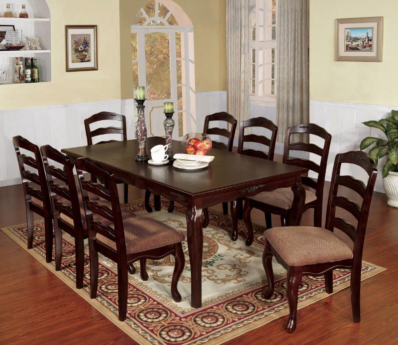 CM3109T-78 9 pc Canora grey mel townsville ii dark walnut finish wood dining table set