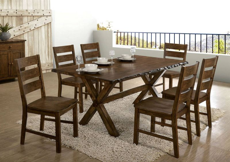 CM3114T-3604-7PC 7 pc Gracie oaks vecinas woodworth walnut finish wood natural edge dining table set
