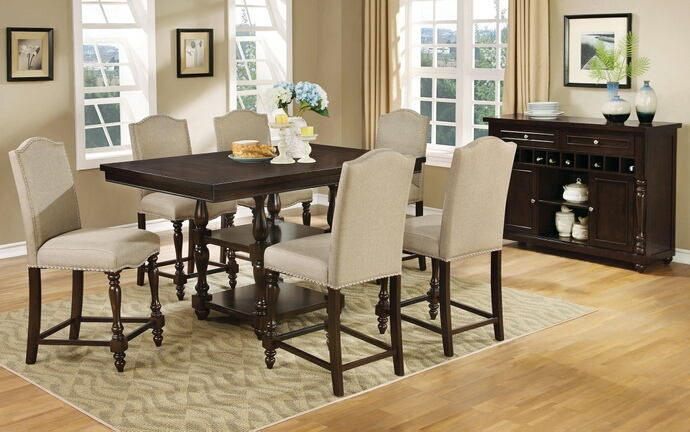 7 pc hurdsfield ii collection transitional style antique cherry finish wood counter height dining table set with padded chairs