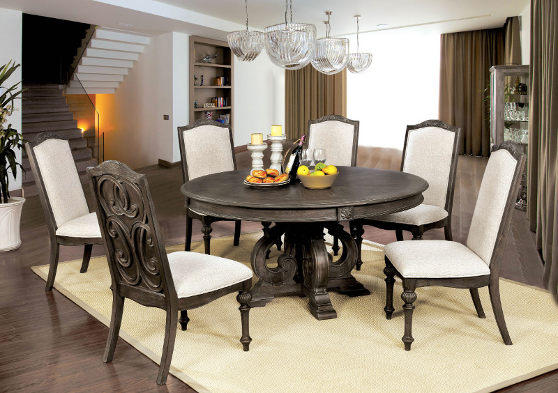 """CM3150RT 7 pc August grove abbottstown arcadia rustic natural tone finish wood 60"""" round dining table set"""