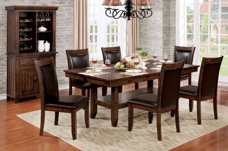 CM3152T-7PC 7 pc Millwood pines mahle meagan i rustic plank brown cherry finish wood dining table set